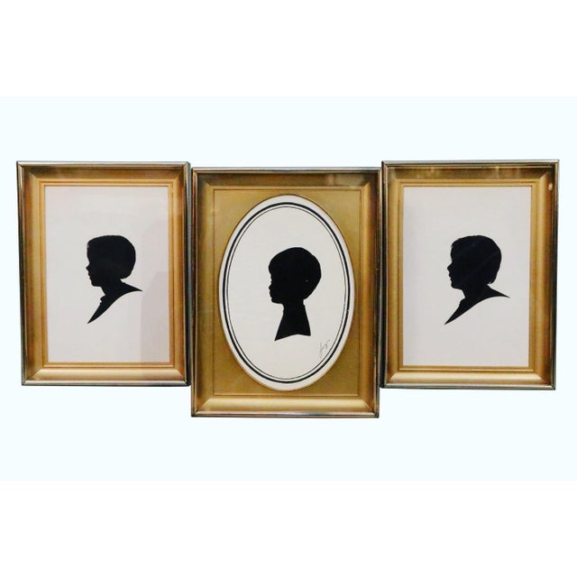 Mid-Century Male Portrait Silhouette Art Prints in Gold Metal Frames - Set of 3 For Sale - Image 4 of 4