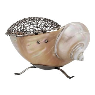 1980s Vintage Artistic Sea Shell With Metal Decorative Box For Sale