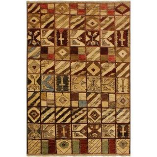Gabbeh Dayna Brown/Green Wool Area Rug -3'11 X 5'7