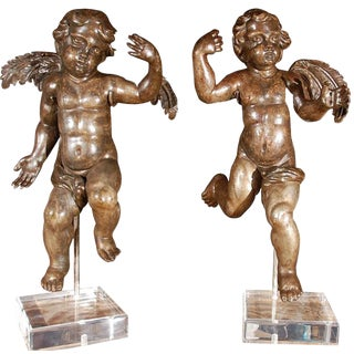 17th C. Italian Carved Giltwood Cherubs For Sale