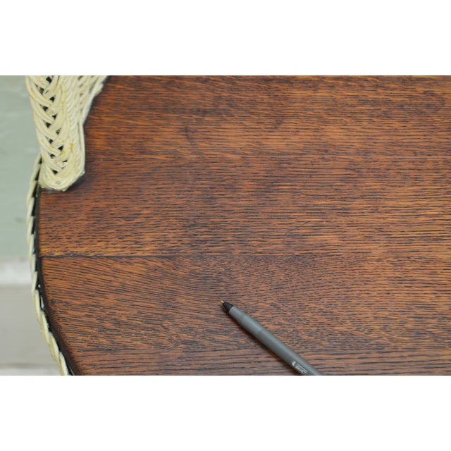 Oak Victorian Wicker & Oak Antique Kidney Shape Writing Desk For Sale -  Image 7 of - Victorian Wicker & Oak Antique Kidney Shape Writing Desk Chairish