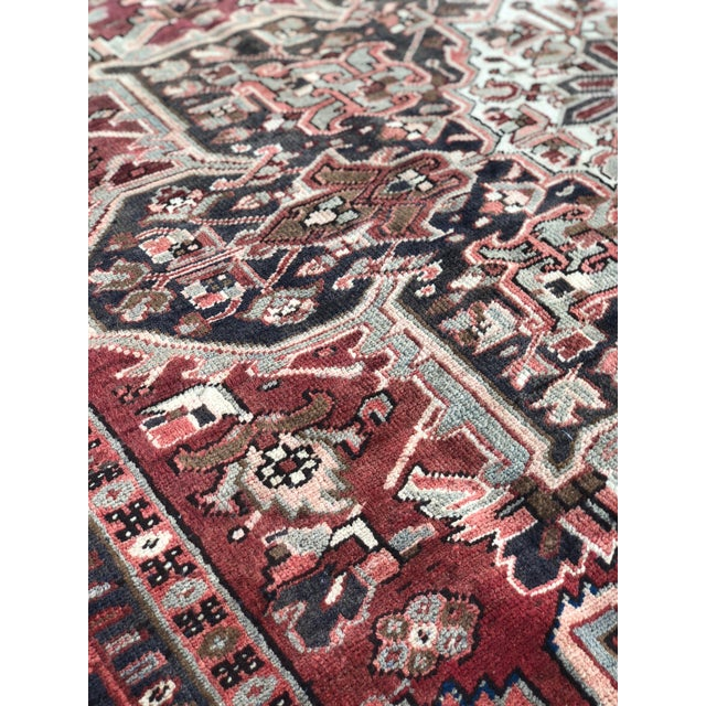 """Textile 1930's Vintage Persian Heriz Large Area Rug 9'2""""x10'7"""" For Sale - Image 7 of 13"""