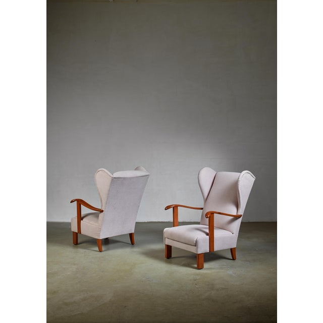 Mid-Century Modern Pair of Fritz Hansen Wingback Lounge Chairs, Denmark, 1930s For Sale - Image 3 of 5