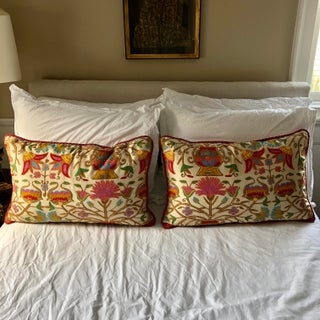 Antique Silk Embroidered Pillows - a Pair Preview