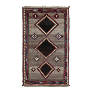 Hand-Knotted Mid-Century Vintage Gabbeh Rug - Beige Brown Tribal Pattern For Sale