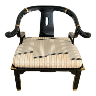 Vintage James Mont Style Ming Chair Black Lacquer For Sale