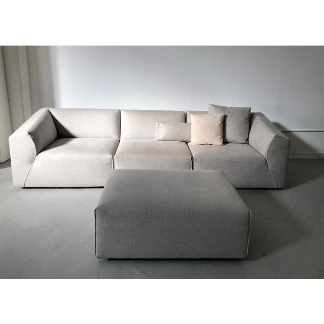 Modern Modular Sofa and Ottoman Light Grey and White Piping by Mdf Italia For Sale - Image 9 of 12