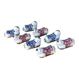 Vintage Chinese Porcelain Children Knife or Chopstick Rests - Set of 8 For Sale