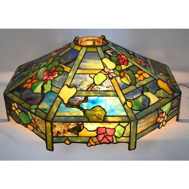 "Tiffany ""Flowering Trellis"" Glass & Bronze Pendant - Image 2 of 8"