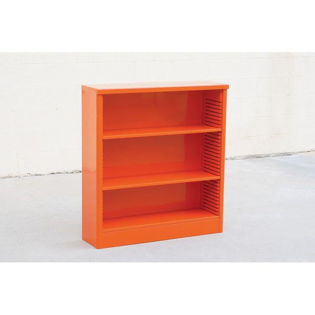 1960s Steel Tanker Style Bookcase in Orange, Custom Refinished For Sale In Los Angeles - Image 6 of 6