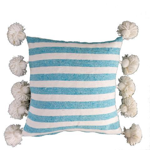 Blue & White Pompom Pillow Cover For Sale - Image 4 of 4