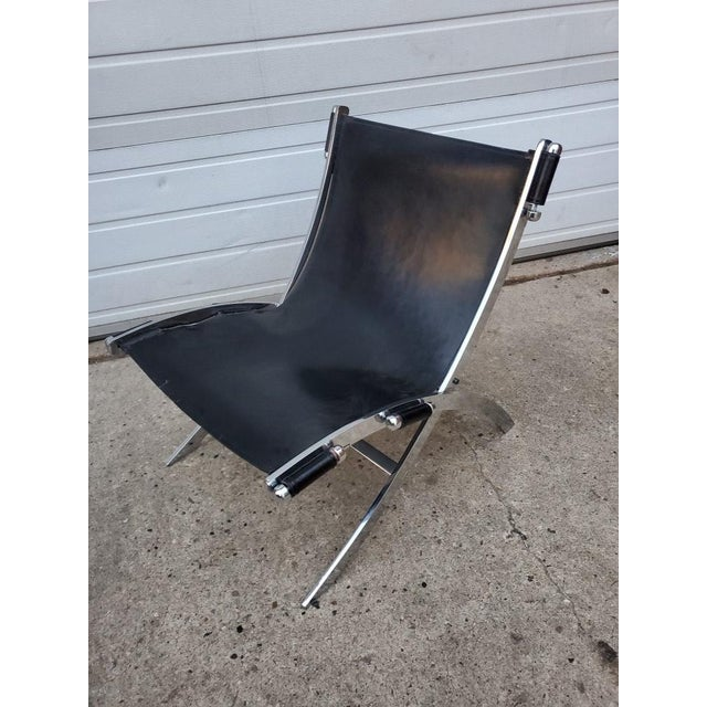 1980s Mid Century Modern Antonio Citterio for Flexform Chrome and Leather Lounge Chair For Sale - Image 5 of 10