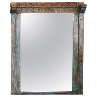 1850s Settler's Home Custom Made Solid Teak Wood Window Frame Mirror For Sale