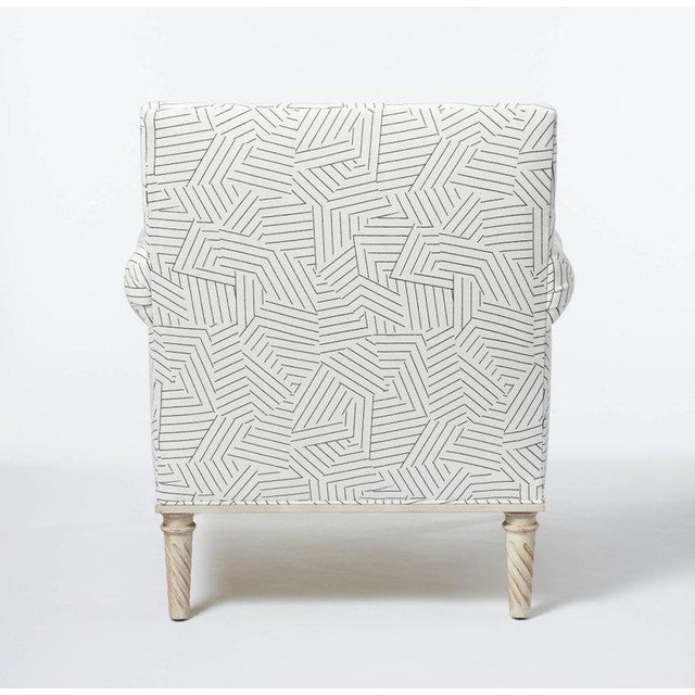 White Schumacher Jansen Deconstructed Stripe Maplewood-Legged Sock Arm Chair For Sale - Image 8 of 9