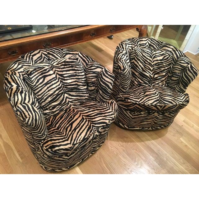 Tufted Zebra Swivel Club Chairs - Pair - Image 3 of 9