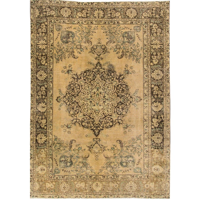 "Apadana Vintage Tabriz Rug - 6'6"" x 9'3"" For Sale"