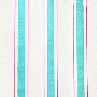 Contemporary Mally Skok Indian Stripe Linen Designer Fabric by the Yard For Sale