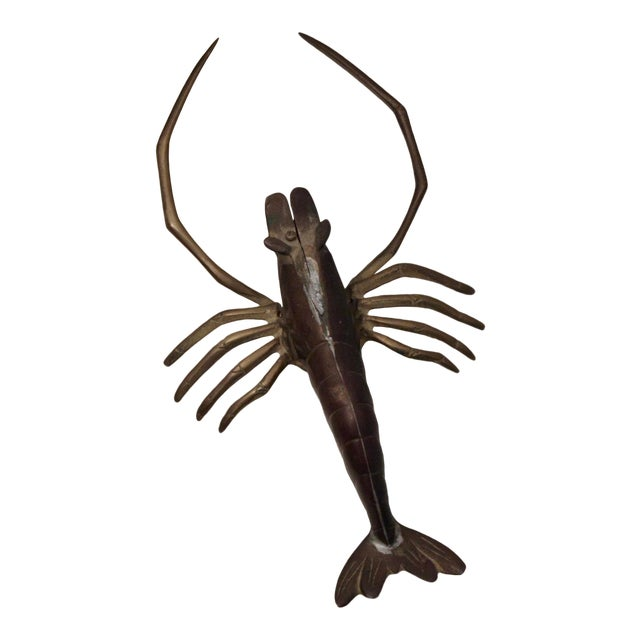 Large Brass Crawfish Wall Sculpture For Sale