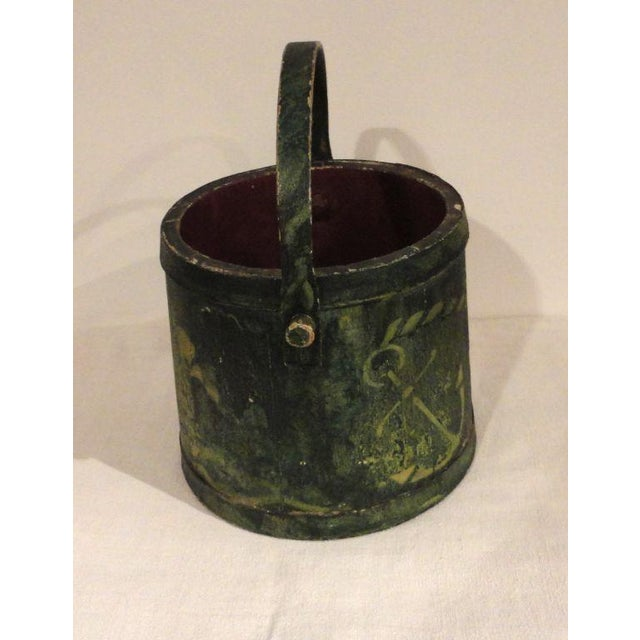 19th Century Nautical Original Painted and Decorated Water Bucket from NE - Image 3 of 8