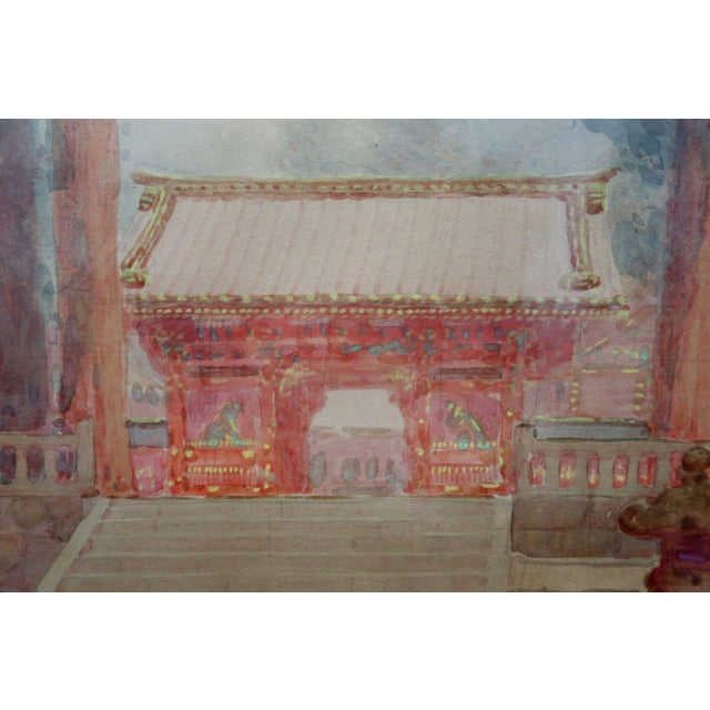 Antique M. Kano Watercolor Painting on Pagoda Stand - Image 7 of 9