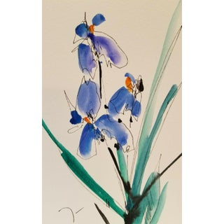 Iris Flowers Watercolor Painting For Sale