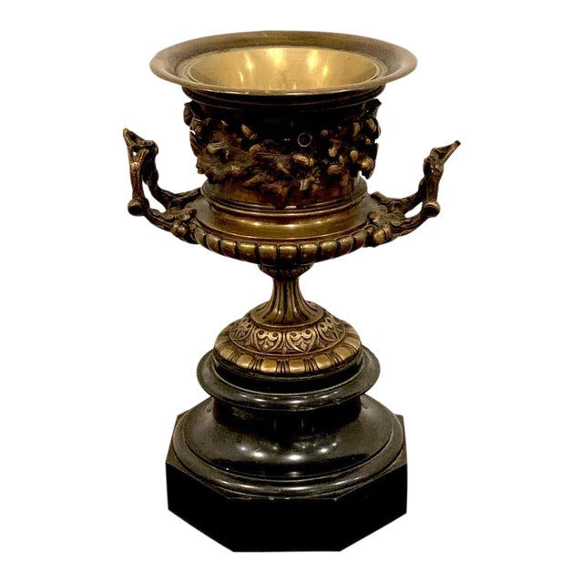 Grand Tour Bronze and Marble Acorn Motif Urn For Sale