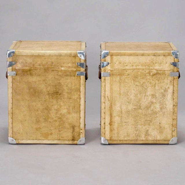 Pair of Reconditioned English Vellum and Chrome Trunks - Image 8 of 9