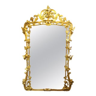 French Louis XV Giltwood Wall Mirror with Grapes & Vines Motif For Sale
