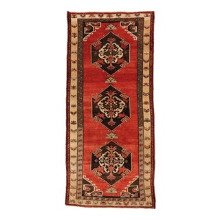"Antique Turkish Sivas Wool Runner Rug - 5'5"" X 11""11"" For Sale"