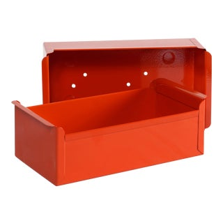 1950s Steel Card File Drawers Refinished in Fire Engine Red, Two Available