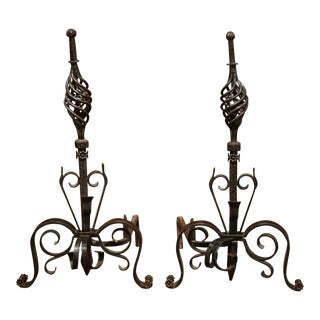 19th Century French Black Iron Andirons - A Pair For Sale