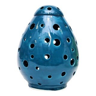 Moroccan Hand Painted Blue Egg Lamp Shell For Sale