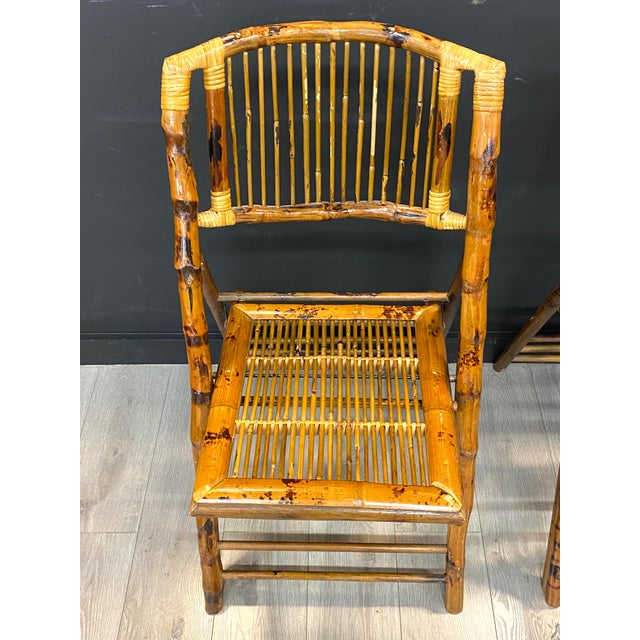 1970s Stunning Set of 4 Vintage Mid Century Modern Tortoise Bamboo Folding Chairs For Sale - Image 5 of 8