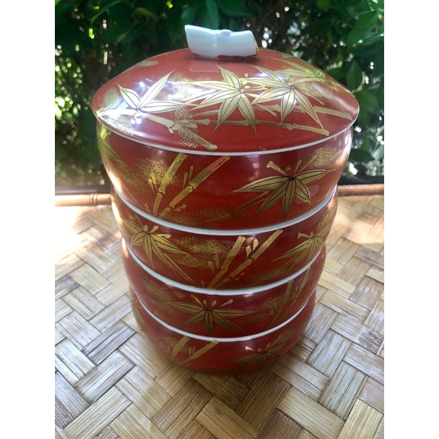 Ceramic Chinese Gilt Porcelain Bamboo Jubako Wedding Jewelry Stacking Box For Sale - Image 7 of 10