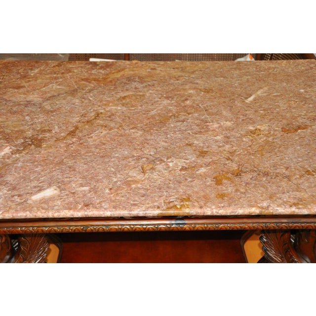 Vintage Renaissance Style Wood Carved Winged Griffin Table and Pink Granite Top For Sale - Image 12 of 13
