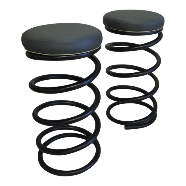 Industrial Spring Stools - A Pair For Sale