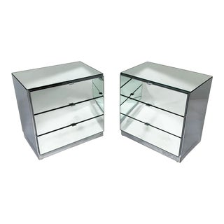 C. 1980s Ello Mirrored Three-Drawer Cabinets or Nightstands - a Pair For Sale