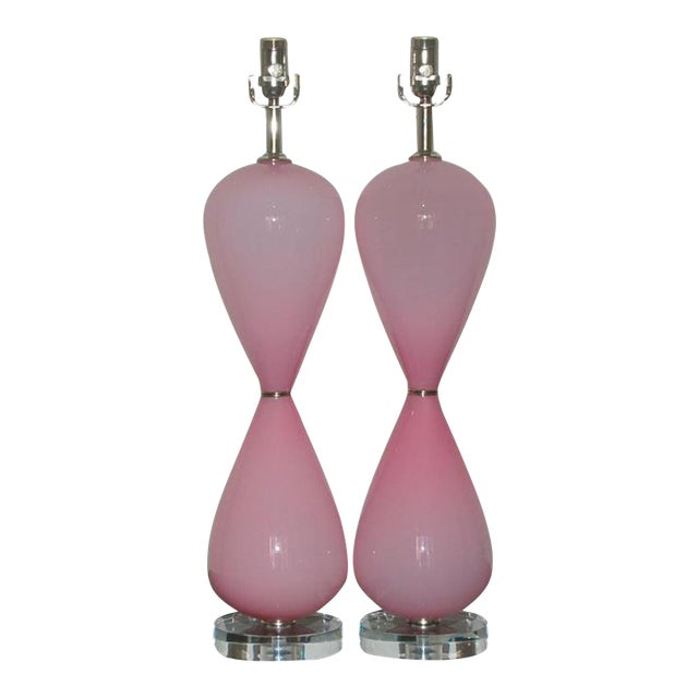 Vintage Murano Opaline Glass Table Lamps Pink For Sale