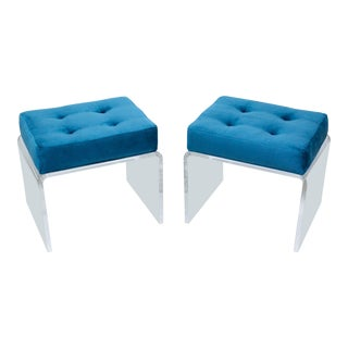 Pair of Teal Waterfall Lucite & Velvet Benches For Sale