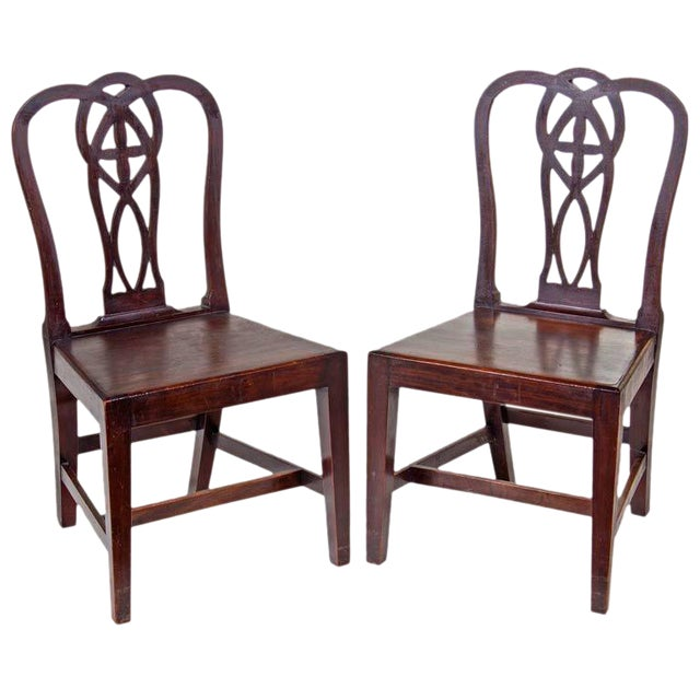 Lovely 18th Century English Mahogany Chippendale Chairs A Pair