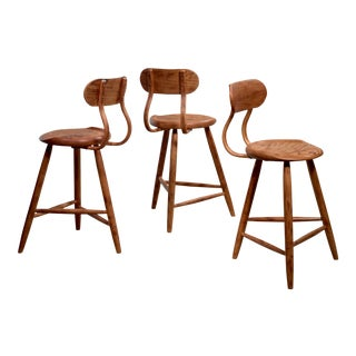 Kai Pedersen Set of 3 Bar Stools With Removable Backrest, Usa, 1983 For Sale