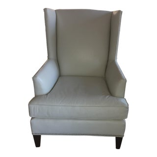 Off-White Leather Wingback Side Chair