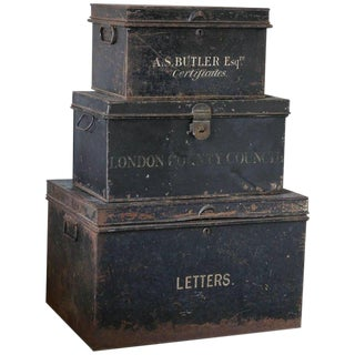 Antique Stacked Metal Document Boxes - Set of 3