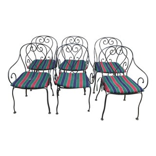 Traditional Iron Scroll Bistro Chairs - Set of 6