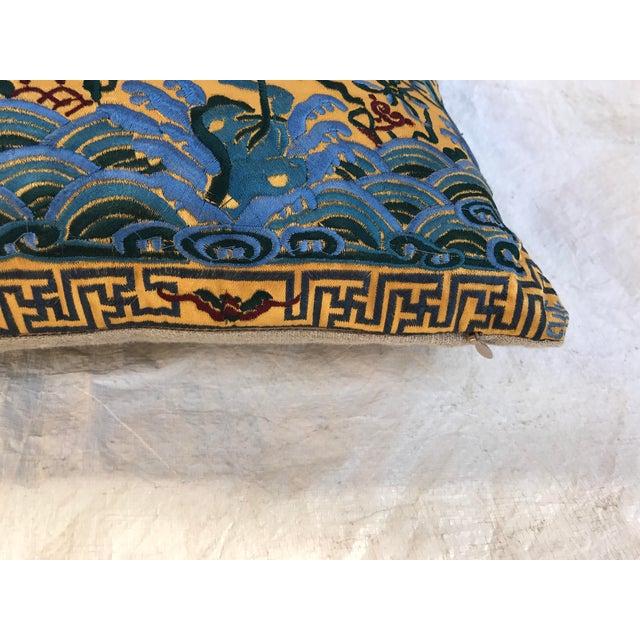 Chinoiserie Gold Silk Crane Boudoir Pillow - Image 7 of 9