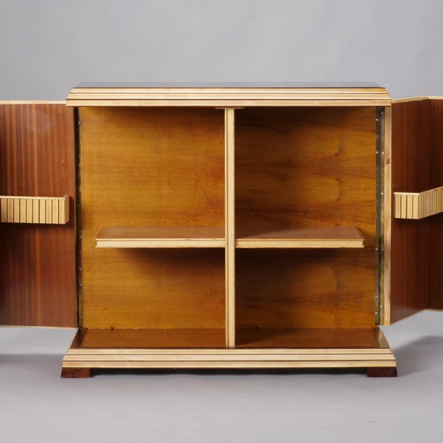 Wood Reeded Maple Cabinet with Rosewood Trim and Black Glass For Sale - Image 7 of 13