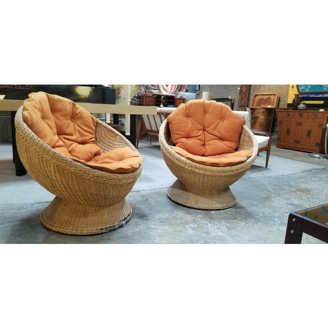 1970's Mod Rattan Lounge Chairs, a Pair For Sale - Image 9 of 10