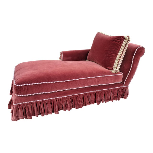 vintage burgundy red velvet chaise chairish. Black Bedroom Furniture Sets. Home Design Ideas