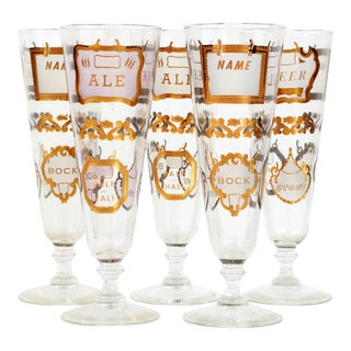 Vintage Mid Century Beer Glasses With Gold 'Labels' - Set of 5 For Sale