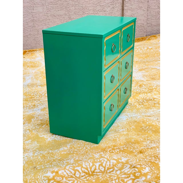 This fantastic chest of drawers in the classic style of Dorothy Draper has been given a fresh look in emerald green. The...